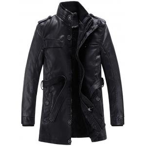 Stand Collar Epaulet Belt Fleece Faux Leather Coat