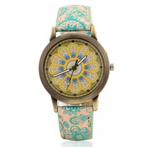 Faux Leather Strap Mandala Face Quartz Watch