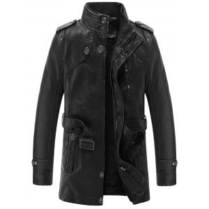 Epaulet Stand Collar PU Leather Longline Fleece Coat