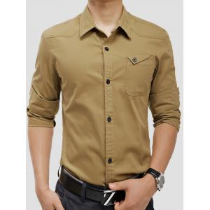 Long Sleeve Panel Design Pocket Cargo Shirt