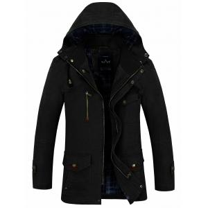 Snap Button Pocket Hooded Coat - Black - Xl