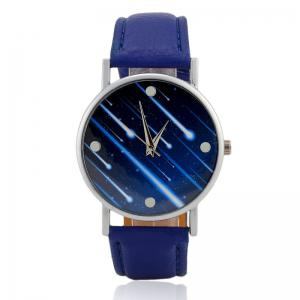 Meteor Shower Face Faux Leather Strap Watch