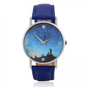 Starry Sky Face Faux Leather Strap Watch