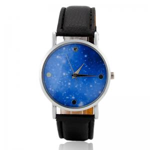 Starry Sky Face Faux Leather Strap Quartz Watch