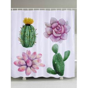 Succulent Plants Pattern Fabric Waterproof Bathroom Shower Curtain - Colormix - W59 Inch * L71 Inch