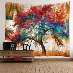 Oil Painting Maple Tree Wall Art Tapestry - Colorful - W79 Inch * L59 Inch