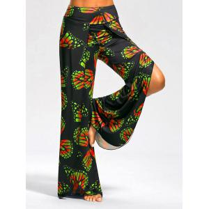Butterfly Print High Slit Palazzo Pants - Red And Green - 2xl
