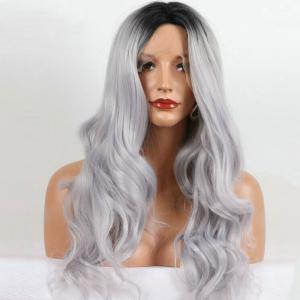 Long Center Part Ombre Wavy Lace Front Synthetic Wig - Colormix