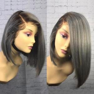 Colormix Side Part Medium Straight Bob Lace Front Synthetic Wig - Colormix - 14inch
