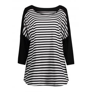 Plus Size Stripe Drop Shoulder  T-shirt