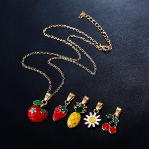 Rhinestone Flower Fruit Pendant Necklace Set
