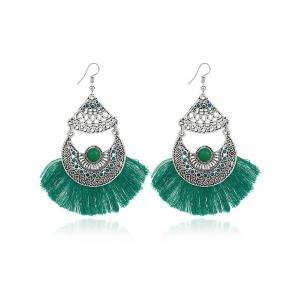 Rhinestone Tassel Gypsy Moon Hook Earrings - Green