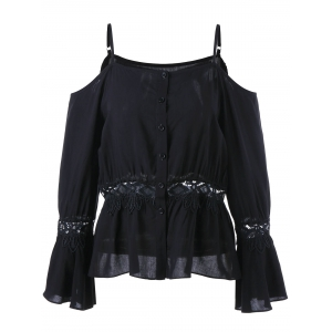 Dew Shoulder Lace Insert Blouse