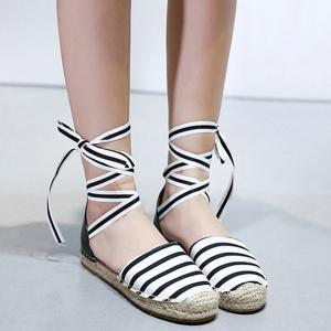 Striped Pattern Espadrilles Flat Shoes - White And Black - 39