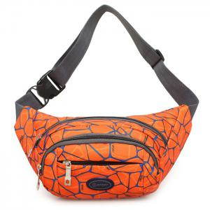Geometric Print Waist Bag - Orange