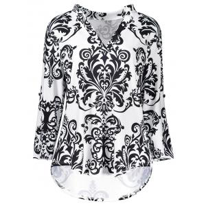 High Low V Neck Bohemian Print T-Shirt - Black - Xl