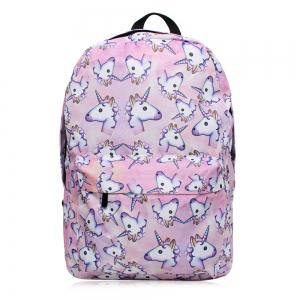 Unicorn Printed Backpack - Pinkish Purple