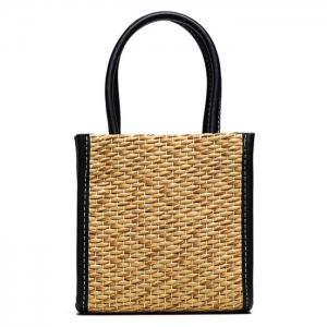 Straw Woven Tote Bag - Black