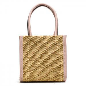 Straw Woven Tote Bag - Pink