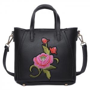 Flower Embroidery PU Leather Tote Bag - Black - 40