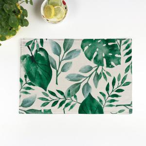 Plant Print Heat Insulation Non Slip Placemat - Green - Pattern D