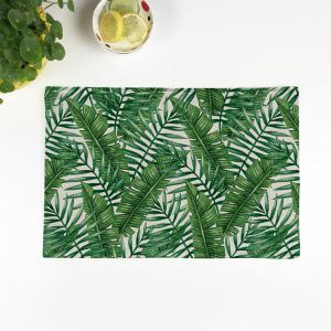 Fern Plant Heat Insulation Linen Placemat - Green - Pattern D