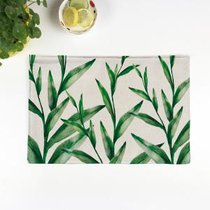 Linen Tropical Plants Print Placemat For Table - Beige - Pattern A