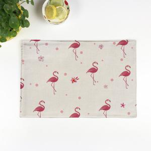 Table Decorative Flamingo Pattern Linen Placemat - Beige - Pattern D