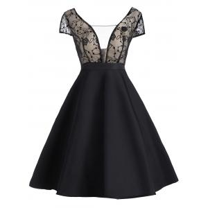Lace Panel Cocktail Fit and Flare Dress