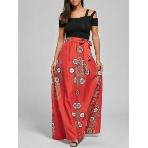 Tribal Print A Line Bohemian Maxi Skirt - Orange - 2xl
