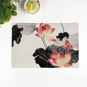 Chinese Lotus Dining Decor Heat Insulated Placemat - Colormix - Pattern 8