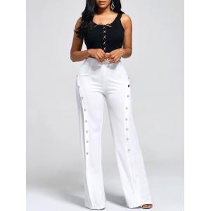 Buttons High Waist Boot Cut Pants
