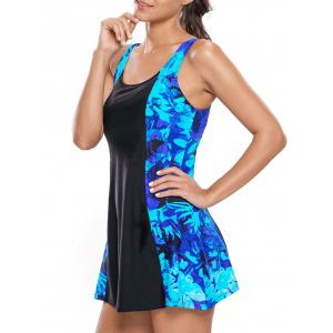 Lace Up Printed Skirted Swimsuit - BLUE AND BLACK S