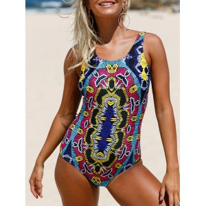 Printed Lace Up Swimsuit - Colormix - S