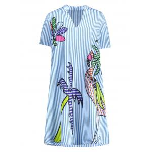 Funny Flamingo Print Plus Size Stripe Shirt Dress