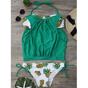 Halter Pineapple Print Blouson Tankini Set - Green - Xl