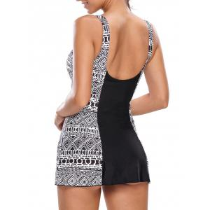 One Piece Skirted Swimsuit - WHITE AND BLACK 2XL