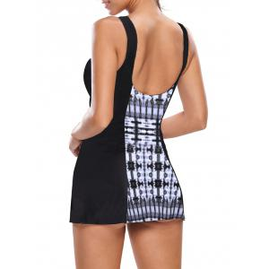 One Piece Skirted Swimsuit - BLACK AND GREY L