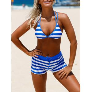 Halter Cross Back Striped Bikini Set - Blue - 2xl