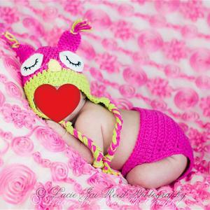 Knit Owl Baby Photography Hat and Diaper
