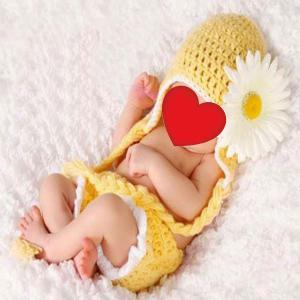 African Chrysanthemum Baby Knitted Photography Clothes Set
