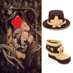 Knitted Cowboy Photography Clothes Set For Baby - Brown - One Size