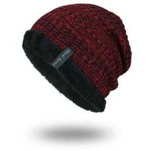 Knitted Velvet Lining Warm Beanie - Wine Red