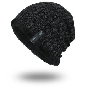 Knitted Velvet Lining Warm Beanie - Black Grey - One Size