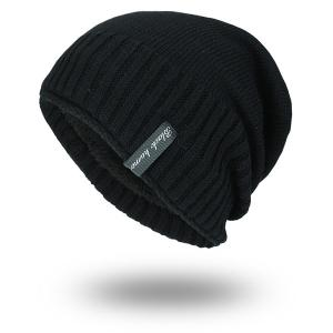 Pinstripe Knitting Velvet Lining Warm Beanie - Black - One Size