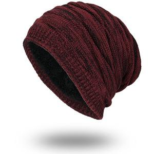 Piled Velvet Lining Knitting Beanie - Wine Red