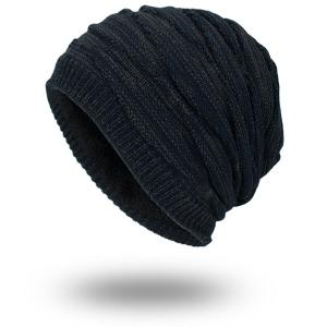 Piled Velvet Lining Knitting Beanie - Purplish Blue