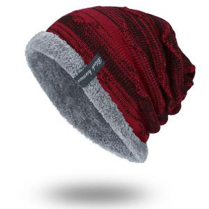 Velvet Lining Knitted Beanie - Wine Red