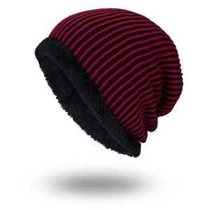 Stripe Velvet Lining Knitted Warm Beanie - Red