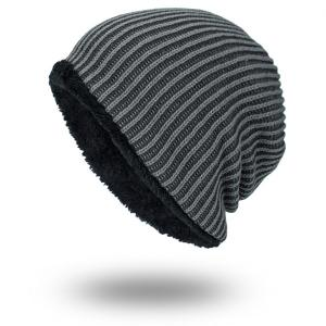 Stripe Velvet Lining Knitted Warm Beanie - Black Grey - M